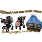 Комплект: коляска, кроватка, матрас, постель