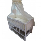 Акция! ! Кроватка маятник Малыш белая без ящика, матрас кокос, постельное 8 эл.