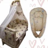 Акция! Постельный набор с коконом 10 элементов. Бежевый Тедди и мишки маленькие  (постель 8 эл + кокон + орт.подушка)