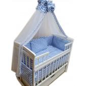"""Акция! Набор постельного в детскую кроватку 8 элементов """"Волна голубая"""""""
