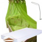 """Акция! Набор в кроватку с матрасом """"Элит"""". Бельё 14 элементов + матрас кокос 11 см + держатель """" Мишки маленькие салатовый"""""""