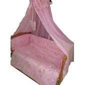 """Постельный комплект в кроватку 3 ед. """"Мишки маленькие""""  розовое Standart"""