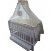 """Кроватка маятник """"Малыш Люкс"""" с ящиком белая, матрас кокос, постельный набор 8 эл."""