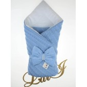 Конверт-одеяло на выписку Lari Вязка зима голубой