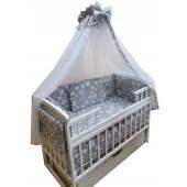 """Акция! Набор постельного в детскую кроватку 8 элементов """"Серый с белыми звездами"""""""