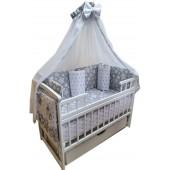 """Акция! Комплект для сна """"Лодочка белая"""". Кроватка маятник + матрас ортопедический + постельный набор 8 эл."""