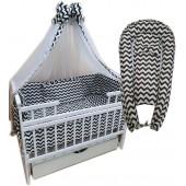 Акция! Постельный набор с коконом 10 элементов. Волна черная (постель 8 эл + кокон + орт.подушка)