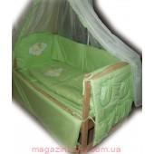 """Постельный набор в кроватку для новорожденного """"Элит вышивка"""" салатовый 9 элементов"""