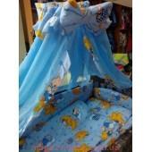 Акция! Постельное бельё в детскую кроватку Мишки со звёдочками голубое 8 элементов