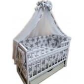"""Акция! Набор постельного в детскую кроватку 8 элементов """"Белый с темно серыми ажурными звездами"""""""
