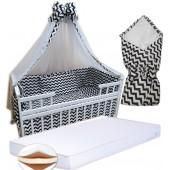 """Акция! Набор в кроватку """"Кроха зебра"""": Комплект постельного 8 элементов + матрас КПК 7 см +  держатель + конверт."""