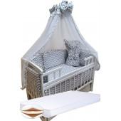 """Акция! Набор в кроватку """"Кроха волна серая"""": Комплект постельного 8 элементов + матрас КПК 7 см +  держатель + конверт."""