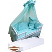"""Акция! Набор в кроватку """"Кроха волна бирюзовая"""": Комплект постельного 8 элементов + матрас КПК 7 см +  держатель + конверт."""