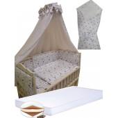"""Акция! Набор в кроватку """"Кроха белый звезды"""": Комплект постельного 8 элементов + матрас КПК 7 см +  держатель + конверт."""