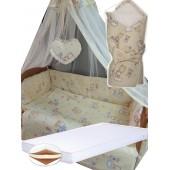 """Акция! Набор в кроватку """"Кроха бежевый мишки маленькие"""": Комплект постельного 8 элементов + матрас КПК 7 см +  держатель + конверт."""