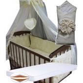 """Акция! Набор в кроватку """"Кроха жакард цветочек"""": Комплект постельного 8 элементов + матрас КПК 7 см +  держатель + конверт."""