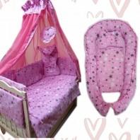 Акция! Постельный набор с коконом 10 элементов. Розовый звезды (постель 8 эл + кокон + орт.подушка)