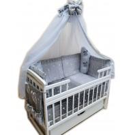 Балдахин на детскую кроватку.  Белый с каймой темно серые звезды