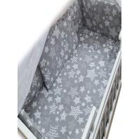 """Постельный комплект в кроватку 3 ед. """"Серый с белыми звездами"""".  Standart"""