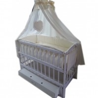 """Акция! Кроватка маятник """"Малыш Люкс"""" с ящиком + матрас кокос + постельный набор 8 эл."""