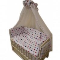Балдахин на детскую кроватку.  Белый с каймой красные звезды