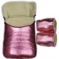 """Акция! Комплект: конверт и рукавицы """"Фо кидс розовый бронза""""."""