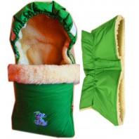 """Комплект: конверт в коляску (санки) и муфта. """"Зеленый аппликация"""""""