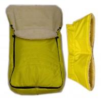 """Комплект: конверт в коляску (санки) и муфта. """"Фо кидс  желтый"""""""