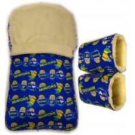"""Акция! Комплект: конверт и рукавицы """"Миньоны синий"""""""
