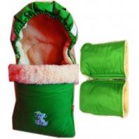 """Акция! Комплект: конверт и рукавицы """"Зеленый аппликация"""""""