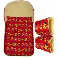 """Акция! Комплект: конверт и рукавицы """"Миньоны красный"""""""