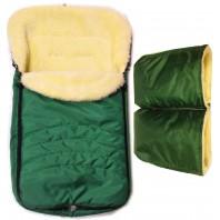 """Акция! Комплект: конверт и рукавицы """"Фо кидс зеленый""""."""