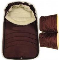"""Акция! Комплект: конверт и рукавицы """"Фо кидс коричневый"""". Шьем под заказ 14 дней"""