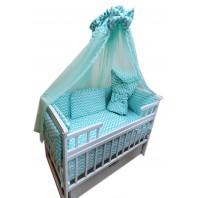 Балдахин на детскую кроватку.  Белый с каймой бирюза волна