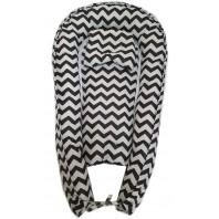 """Кокон гнездышко (позиционер для новорожденных). Цвет: волна черная. В подарок ортопедическая подушка """"бабочка"""""""