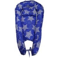 """Кокон гнездышко (позиционер для новорожденных). Цвет: синий с белыми звездами. В подарок ортопедическая подушка """"бабочка"""""""