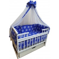 """Акция! Набор постельного в детскую кроватку 8 элементов """"Синий с белыми звездами"""""""