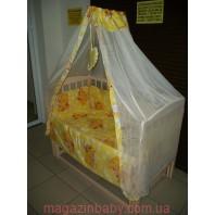 Балдахин на детскую кроватку.  Мишки спят желтый