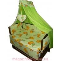 Балдахин на детскую кроватку.  Салатовый мишки звезды