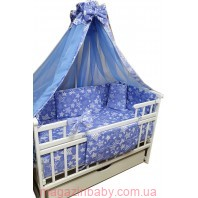 """Акция! Набор постельного в детскую кроватку 8 элементов """"Белые ажурные звезды на голубом"""""""