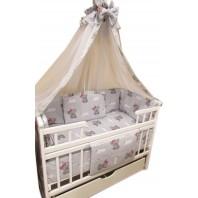 Балдахин на детскую кроватку.  Белый с  серой каймой мишка с бантиком