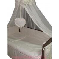 Балдахин на детскую кроватку.  Молочный жакард линия