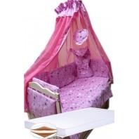 """Акция! Набор в кроватку """"Кроха звезды розовое"""": Комплект постельного 8 элементов + матрас КПК 7 см +  держатель + конверт."""