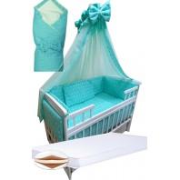 """Акция! Набор в кроватку """"Кроха бирюза звезда/горошек"""": Комплект постельного 8 элементов + матрас КПК 7 см +  держатель + конверт."""