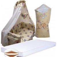 """Акция! Набор в кроватку """"Кроха мишки беж"""": Комплект постельного 8 элементов + матрас КПК 7 см +  держатель + конверт."""