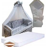"""Акция! Набор в кроватку """"Серый звезды и линия"""": Комплект постельного 8 элементов + матрас КПК 7 см +  держатель + конверт."""