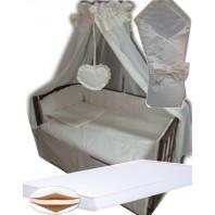 """Акция! Набор в кроватку """"Кроха жакард линия"""": Комплект постельного 8 элементов + матрас КПК 7 см +  держатель + конверт."""