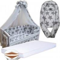 """Набор в кроватку """"Максимальный"""". Постельное 8 элементов, матрас КПК 7 см, кокон, держатель. Белый с ажурными звездами"""