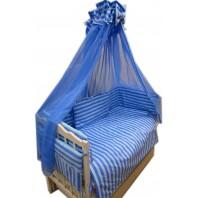 """Акция! Набор постельного в детскую кроватку 8 элементов """"Линия голубая"""""""
