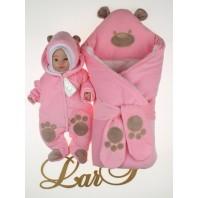 """Набор на выписку """"Панда"""" : конверт с комбинезоном. Розовый"""